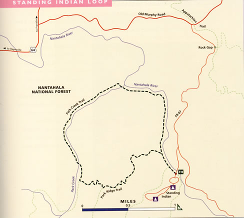 map of Standing Indian Loop trail