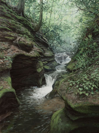 Martin Creek (Bartram's Falling Creek), oil on canvas by Philip Juras copyright 2010